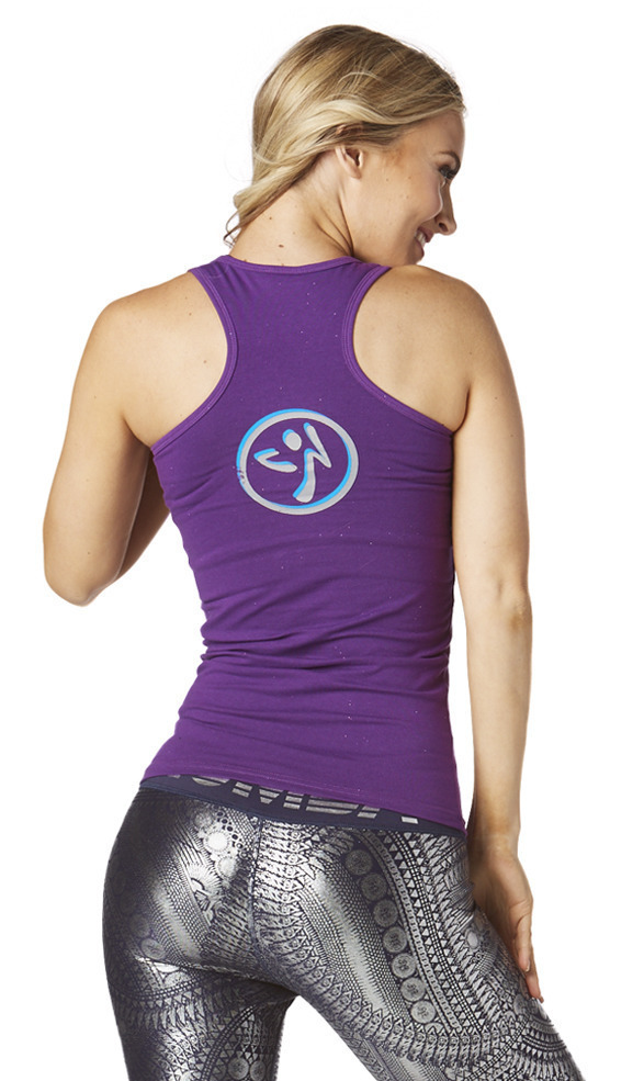 新作♪ZumbaズンバRock Out Racerback-Perfect In Purple