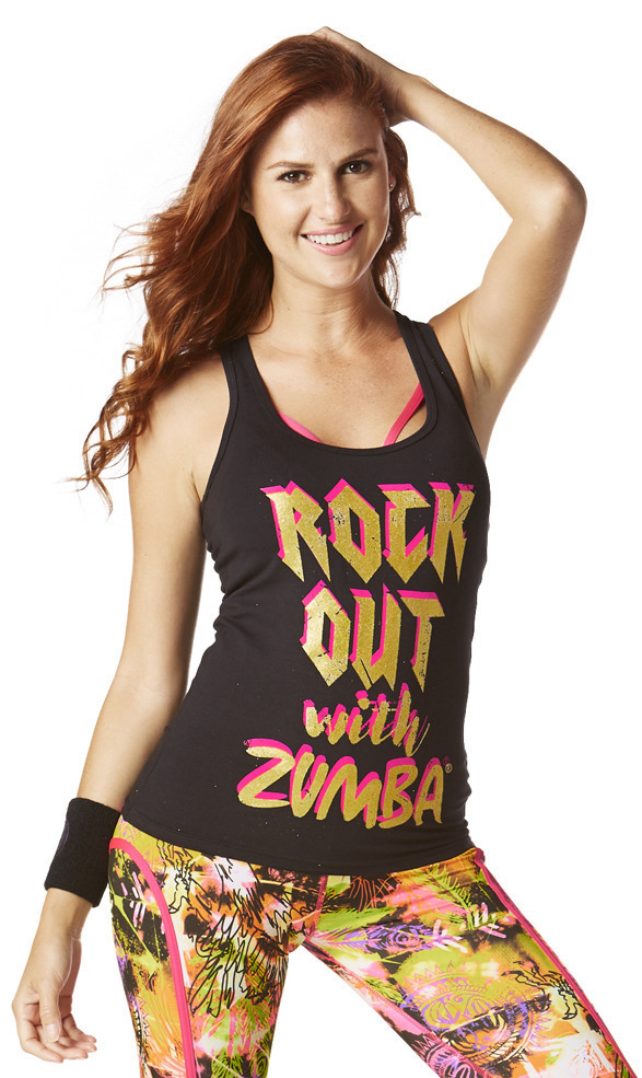 新作♪ZumbaズンバRock Out Racerback-Bold Black