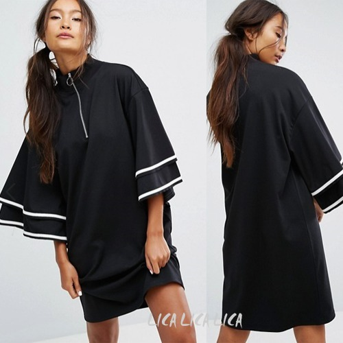 国内発送ASOS/Monki Ruffle Sleeve Zip Up Sporty Dress