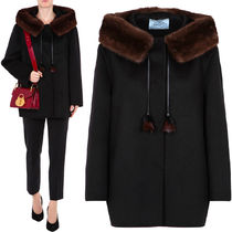 PR628 MINK FUR TRIMMED CASHGORA BLEND WOOL COAT