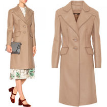PR632 BRUSHED WOOL SINGLE BREASTED COAT WITH CUT OUT DETAIL