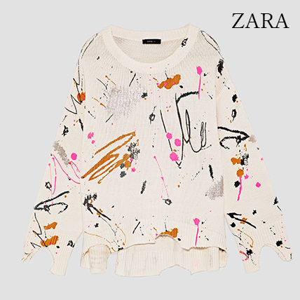 ●ZARA●秋新作♪SWEATER WITH PAINTED BRUSH STROKES