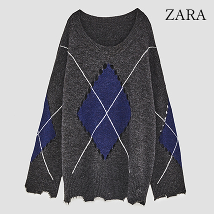 ●ZARA●秋新作♪RIPPED DIAMOND KNIT SWEATER