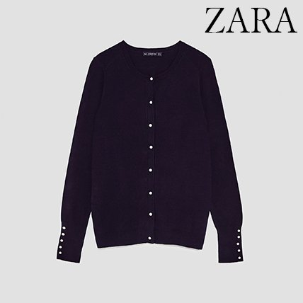 ●ZARA●秋新作♪KNIT CARDIGAN WITH FAUX PEARL BUTTON