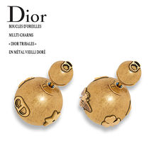"DIOR MULTI CHARMS ""DIOR TRIBAL METAL OLD GOLD ピアス"
