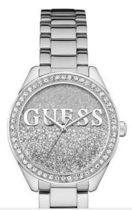 追尾/関税/送料込 Guess SILVER-TONE GLITTER WATCH