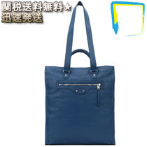 関税送料込★BALENCIAGA★Blue leather North-southハンドバッグ
