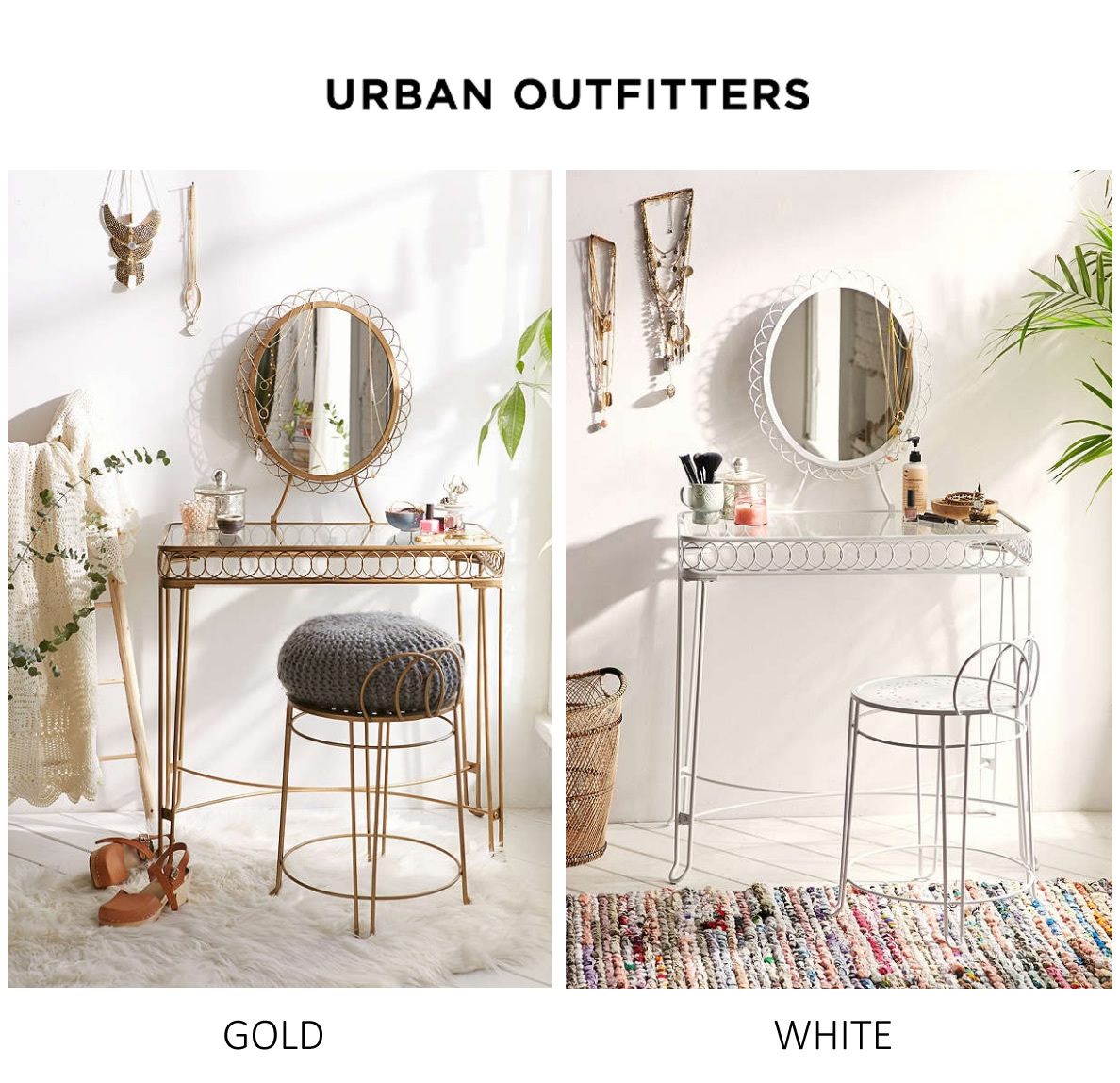 Urban Outfittersメイクアップドレッサー鏡台ホワイト/ゴールド