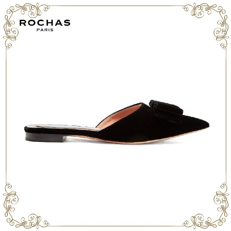 【MUSE9月号掲載】★Rochas★Point-toe velvet slipper shoes