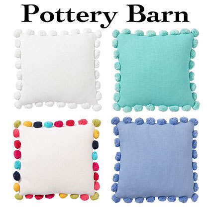 ★Pottery Barn★Pom Pom Organic Pillow Cover② ネーム加工可