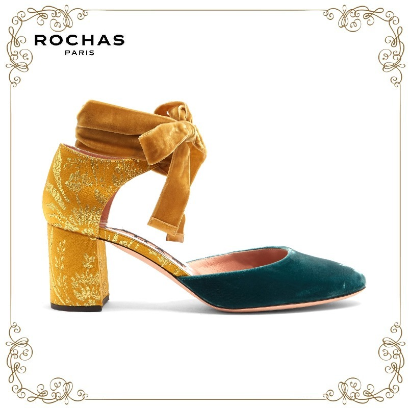 【17AW】★Rochas★Block-heel velvet and brocade pumps