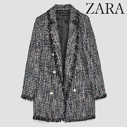 ●ZARA●秋新作♪TWEED JACKET WITH FAUX PEARL BUTTON