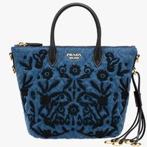 PR687 QUILTED DENIM TOTE BAG WITH FLORAL EMBROIDERY