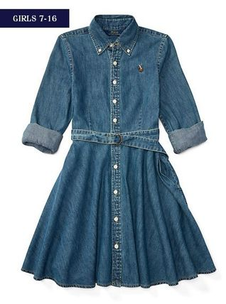 新作!大人もOK ♪ DENIM FIT-AND-FLARE SHIRTDRESS girls 7~16