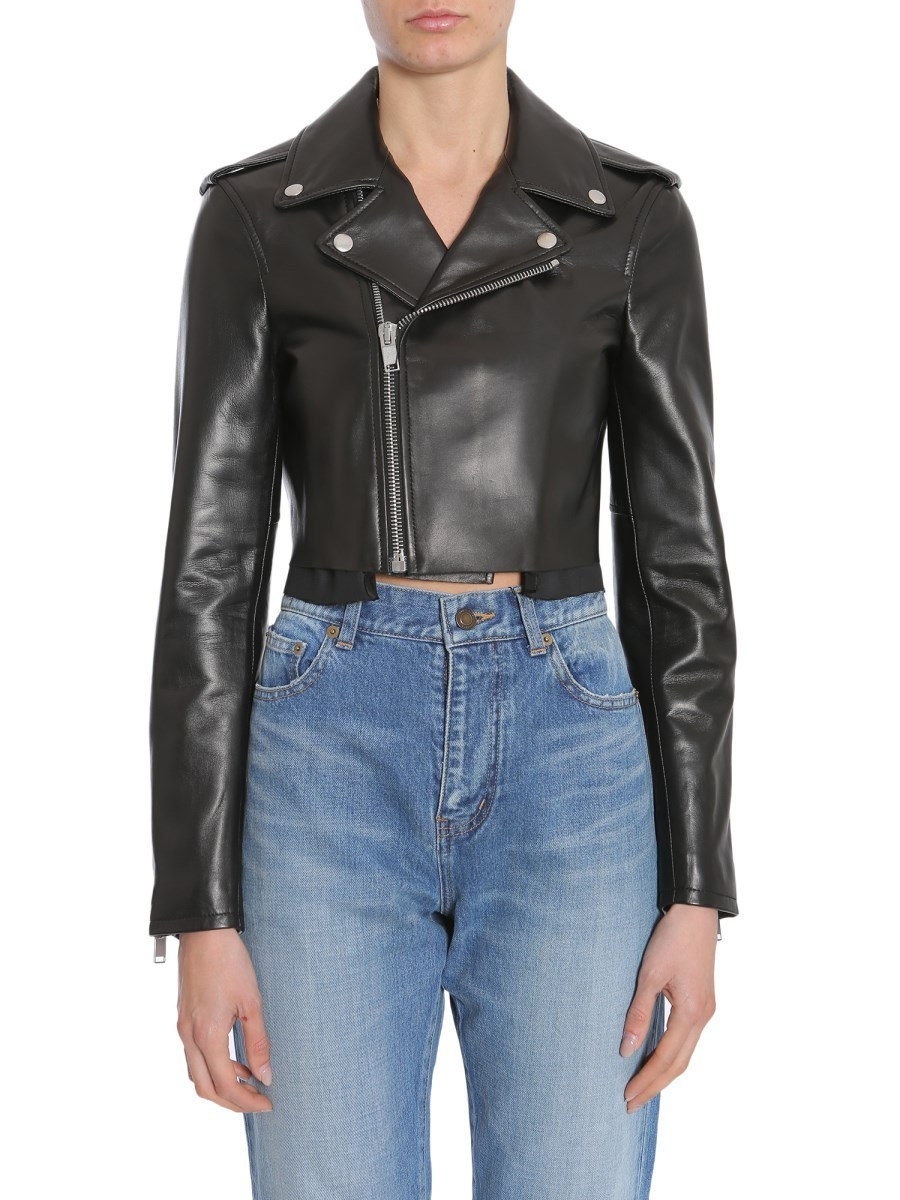 【Saint Laurent】CROPPED MOTORCYCLE JACKET WITH ZIP