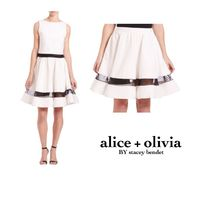 【限定セール】Alice+Olivia Lotus Flared Silk-Panel Skirt