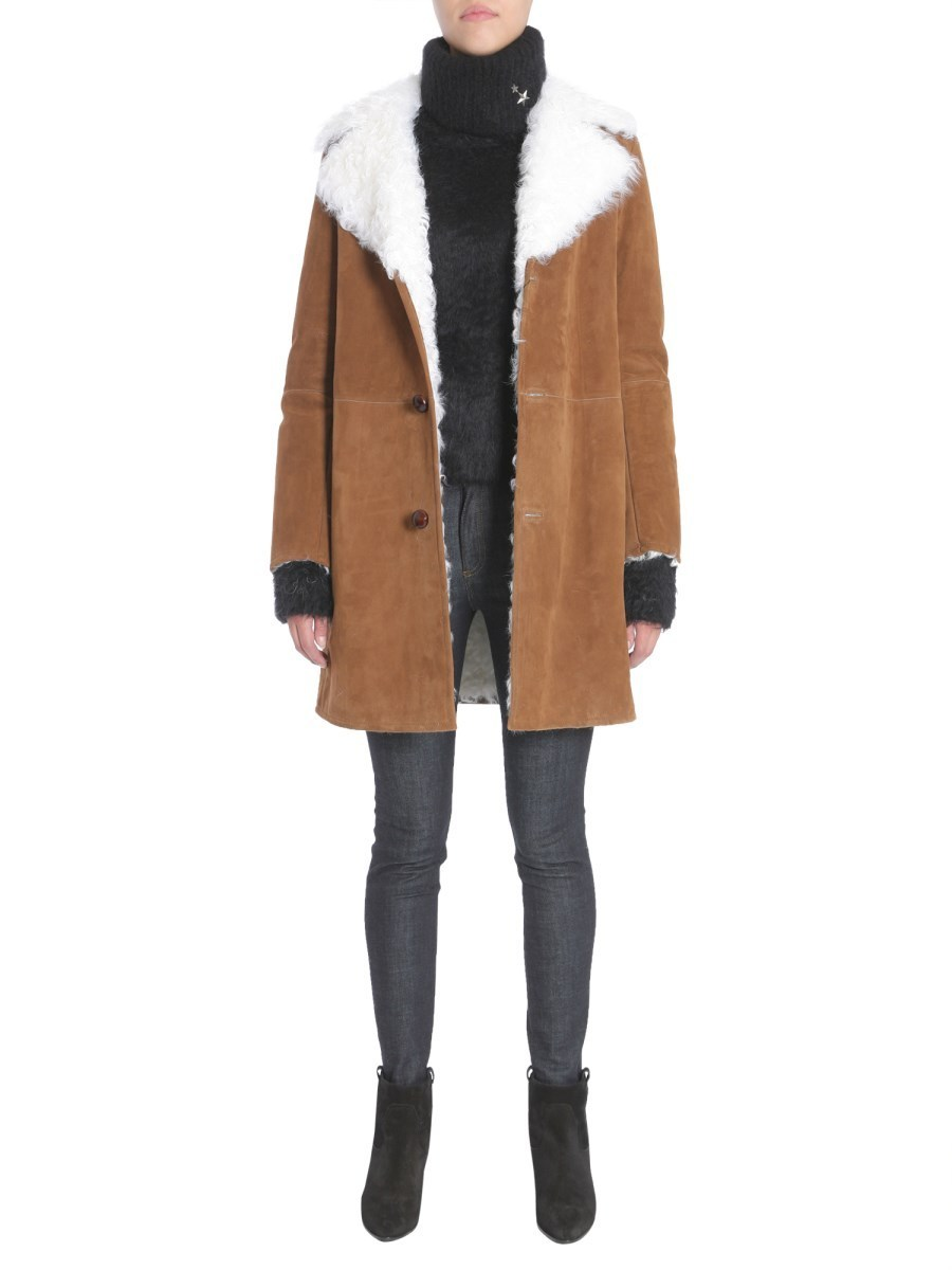 【Saint Laurent】SUEDE AND SHEARLING COAT