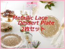 17AW*最安*関送込【Anthro】Metallic Lace Dessert Plate 2枚SET