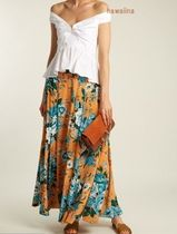NEW!【DVF】Bournier floral-print silk-crepe maxi skirt送関込