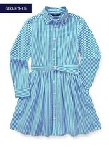 新作!大人もOK ♪ STRIPED COTTON SHIRTDRESS girls 7~16