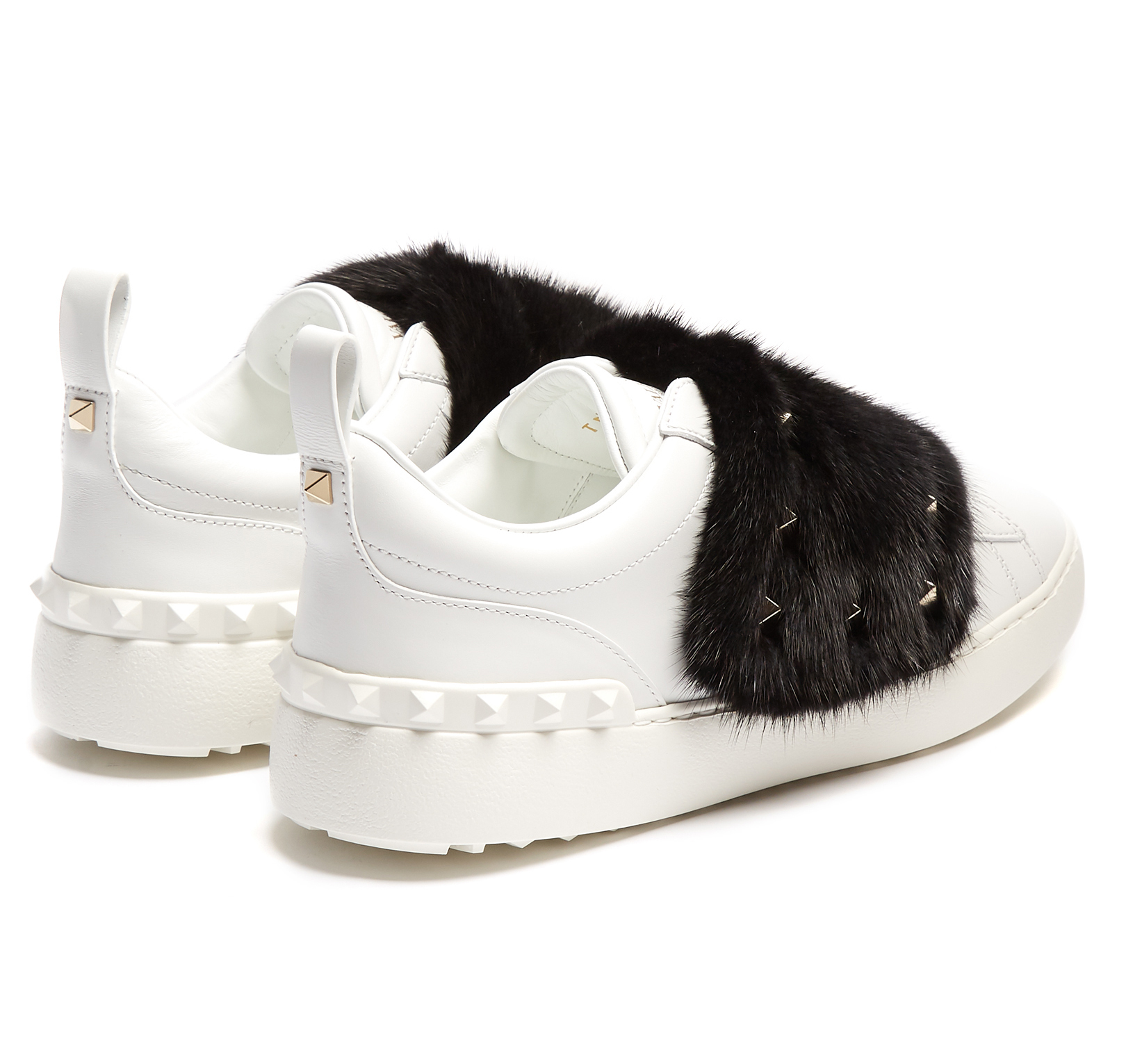 【17AW】VALENTINO/Mink-fur Rockstud Low topレザースニーカー