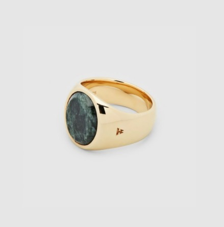【Tom Wood/トムウッド】Oval Gold Green Marble リング ★