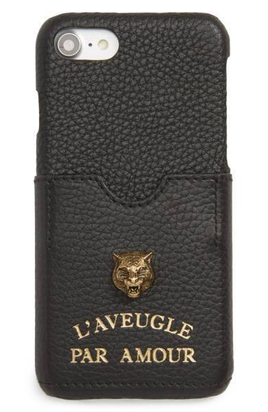 Gucci/Tiger L'Aveugle Par Amour Leather iPhone 7 Case☆COOL