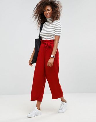 ASOS【関税・送料込】Wide Leg Trousers with Paperbag Waist