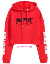 国内発送 H&M×PURPOSE TOUR Justin Bieber ショートパーカーRED