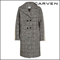 CARVEN★Printed Wool-Blend Coat with Faux Shearling