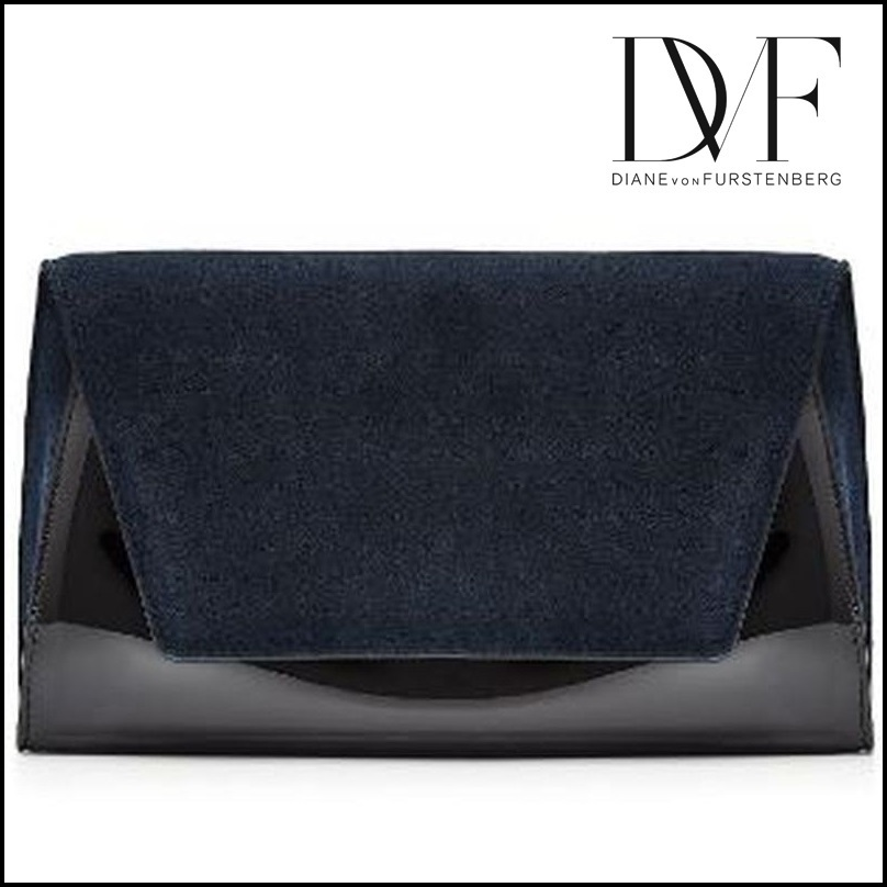 DIANE von FURSTENBERG★Patent Leather Clutch with Suede★