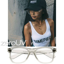 zeroUV★SUPER CLEAR TRANSPARENT CRYSTAL FRAME HORNED RIM