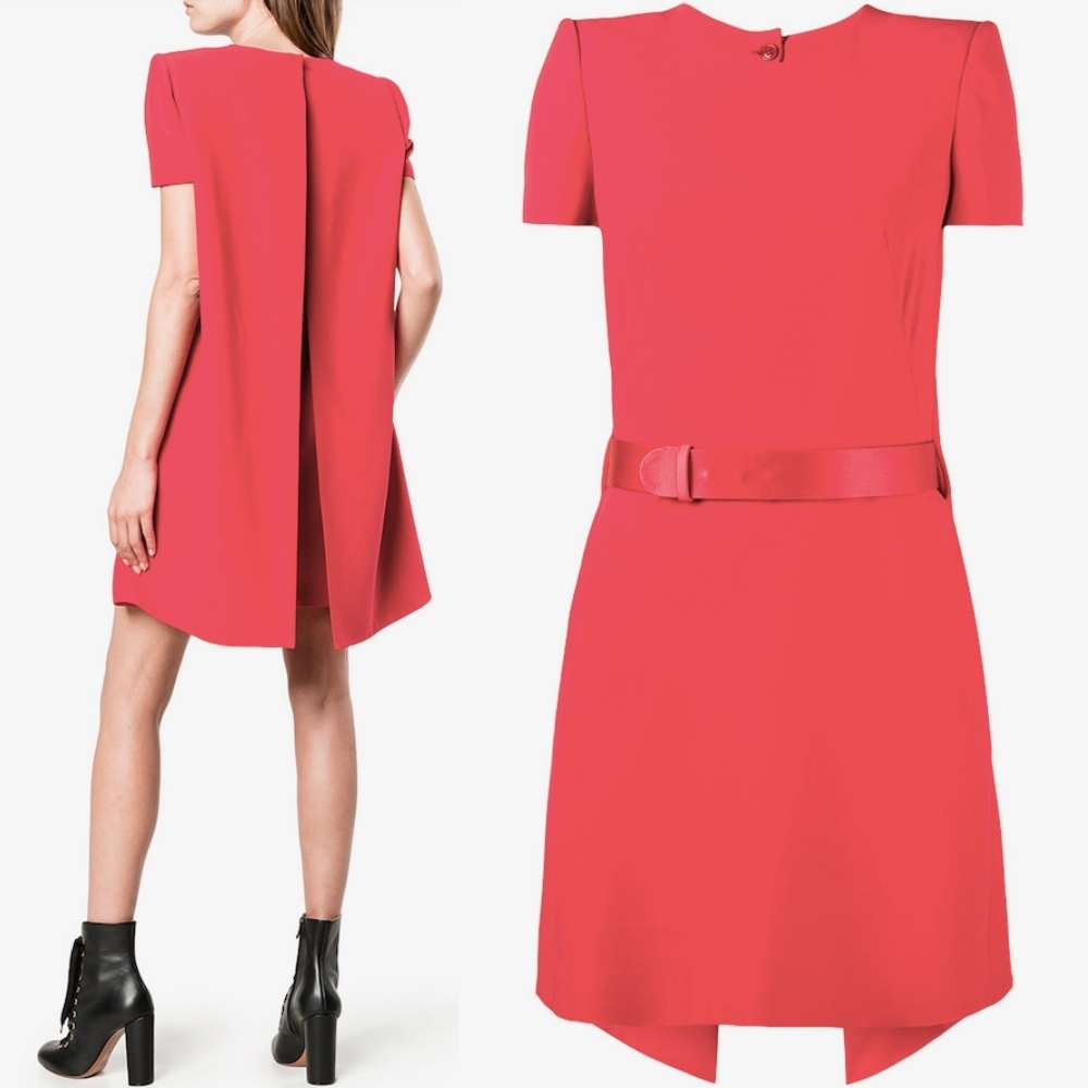 17-18AW AM227 WOOL & SILK BELTED DRESS WITH CAPE