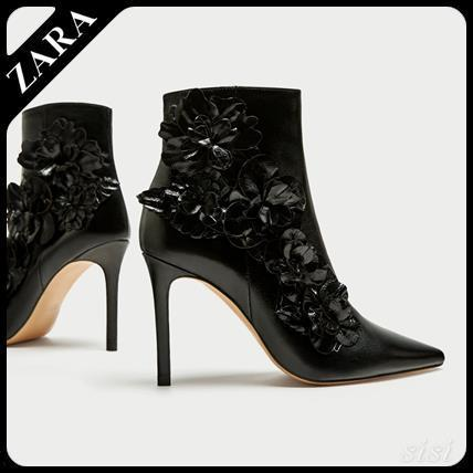 ★ZARA★ザラ  HIGH HEEL ANKLE BOOTS WITH FLORAL TRIMS