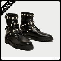 ★ZARA★ザラ  LEATHER ANKLE BOOTS WITH FAUX PEARLS