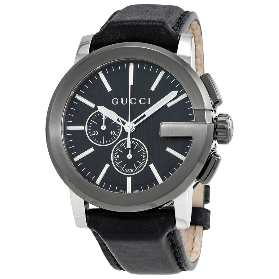GUCCI G-Chrono Black Dial Leather Men's Watch