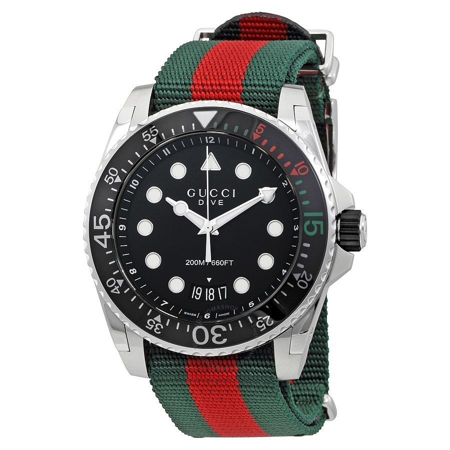 GUCCI メンズ Dive Black Dial Men's Watch 腕時計