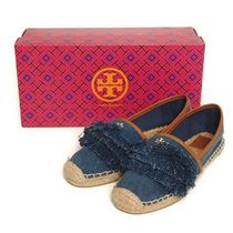 Tory Burch SHAW DENIM FRINGE ESPADRILLE[RESALE]