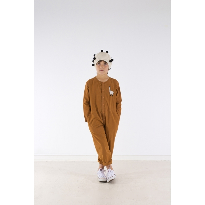 117Aw日本発送★tinycottons llama woven onepiece brown12m-10Y