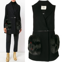 FE1685 FOX FUR EMBELLISHED WOOL SLEEVELESS COAT