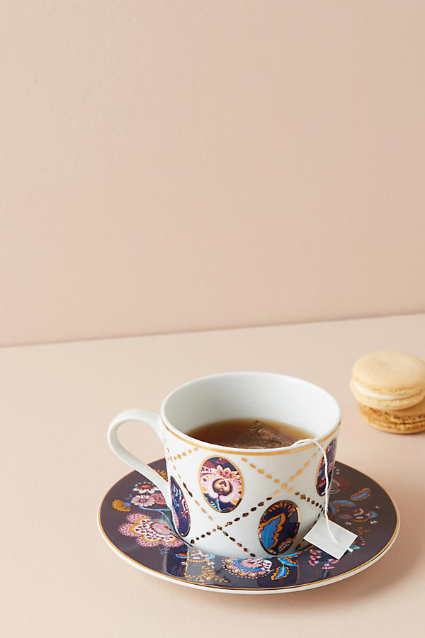 18AW☆関送込【Liberty×Anthro】Mabelle Floral Cup & Saucer