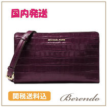 国内発送◆Michael Kors Large Crossbody Clutch 2way Damson
