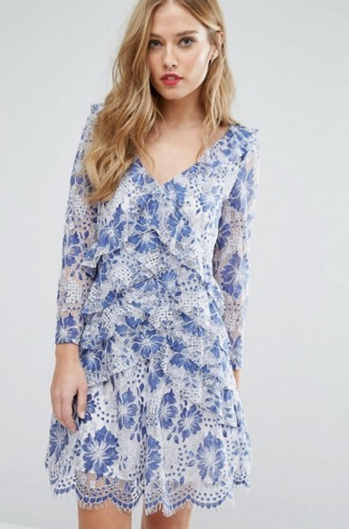 【ASOS】エイソス*French Connection*花柄ブルーレースワンピ