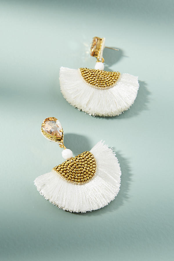 Anthropologie☆Petite Tasseled Fan Drop Earrings