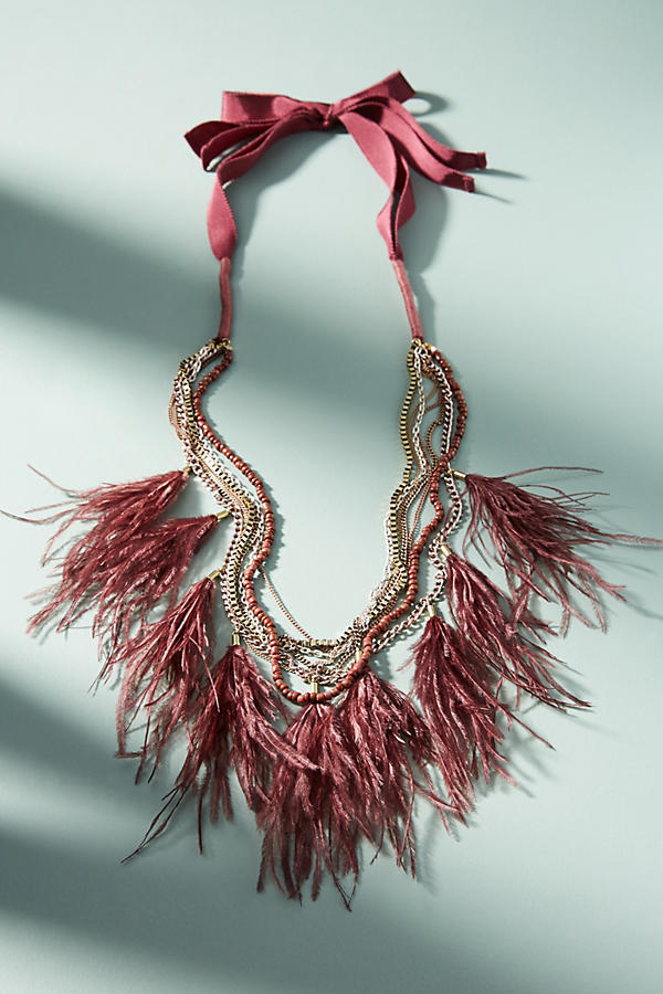 Anthropologie☆Wispy Feather Layered Necklace