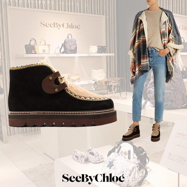 【17AW】See by Chloe/Claudia shearling & suedeアンクルブーツ