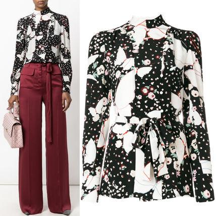 17-18AW V835 POP BUTTERFLY SILK BLOUSE WITH RIBBON BELT
