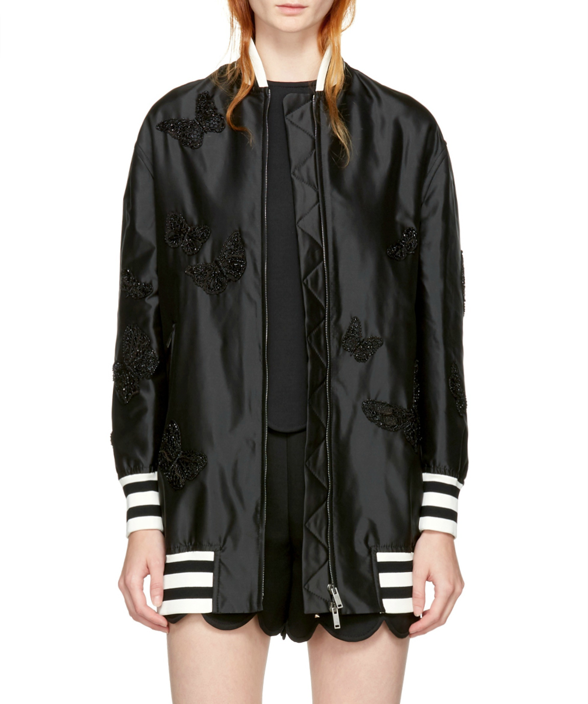 17-18AW V846 BUTTERFLY EMBELLISHED SILK TWILL BOMBER JACKET