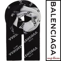 【国内発送】Balenciaga スカーフ Logo print virgin wool scarf
