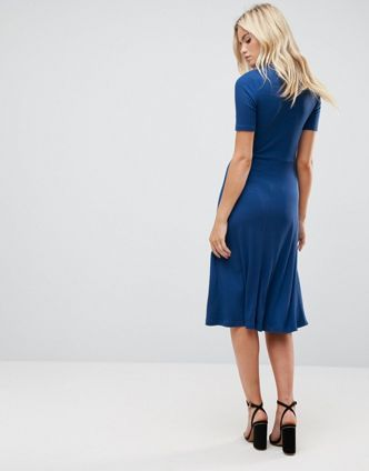 ASOS【関税・送料込】Midi Tea Dress in Rib with Tie Detail